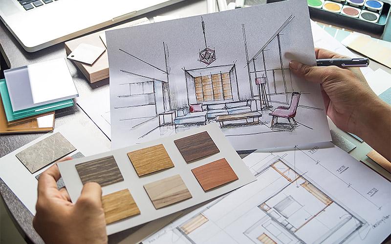 Architect designer Interior creative working hand drawing sketch